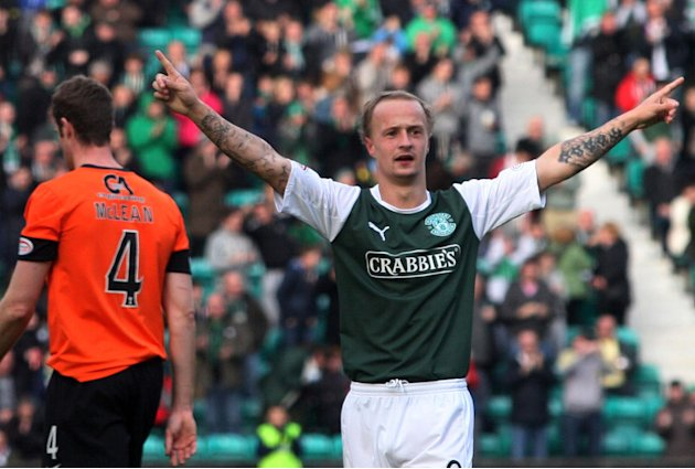 Hibernian's Leigh Griffiths celebrates his goal at Easter Road