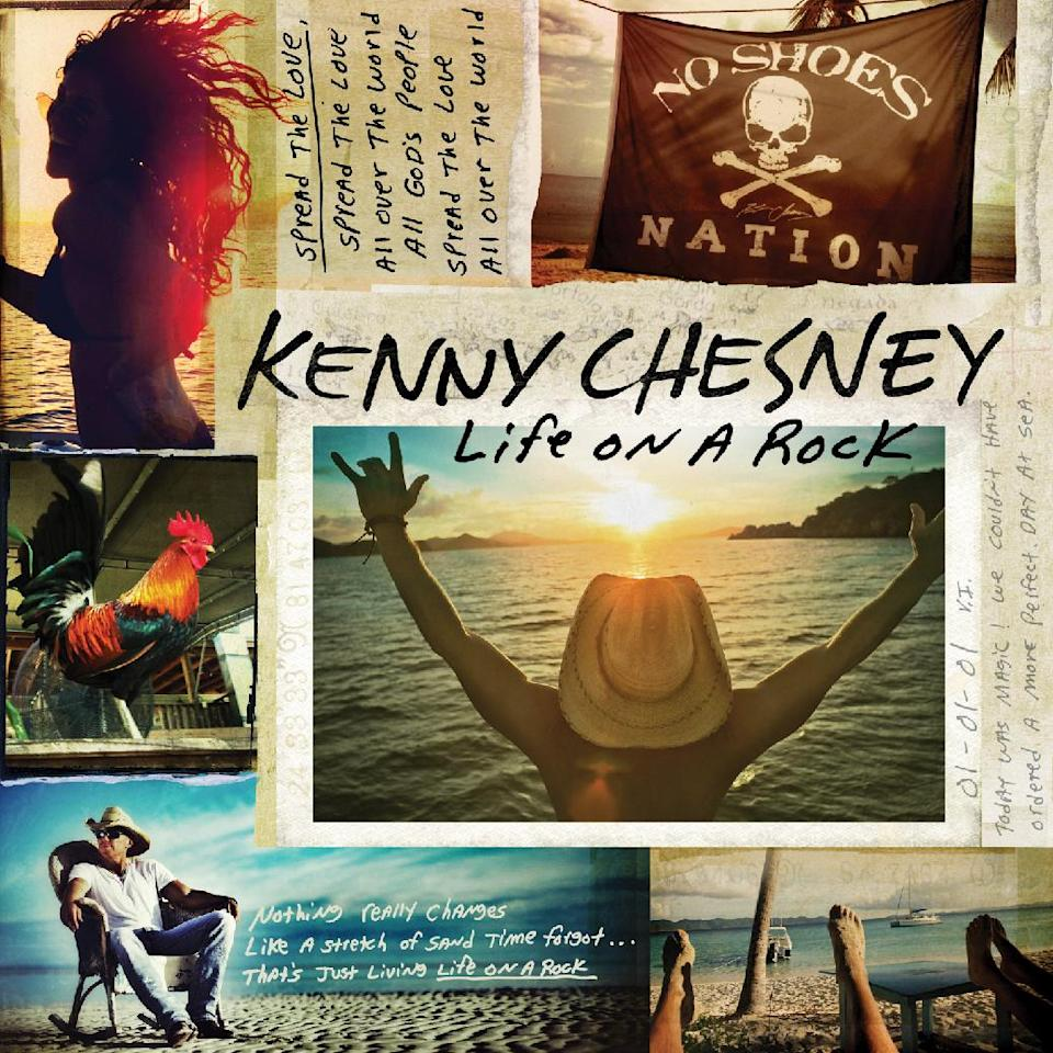 "This CD cover image released by Blue Chair Records, LLC / Columbia Nashville shows ""Life on a Rock,"" by Kenny Chesney. (AP Photo/Blue Chair Records, LLC / Columbia Nashville)"