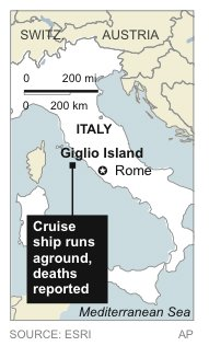 Map locates where cruise ship …