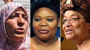 Nobel Peace Prize goes to activists Tawakul Karman (left), Leymah Gbowee (center), and Ellen Johnson Sirleaf (right). (Photo:ABC News)