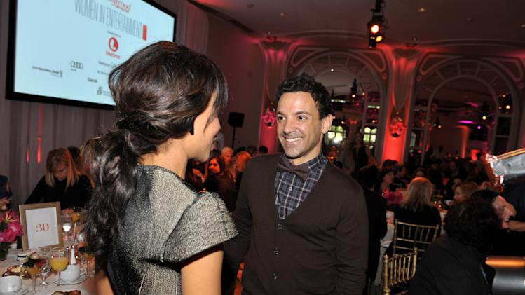 Actress Kerry Washington, left, and stylist George Kotsiopoulos greet each other at The Hollywood Reporter's 21st Annual Women in Entertainment Power 100 breakfast presented by Lifetime on Wednesday, Dec. 5, 2012 in Beverly Hills, Calif.  (Photo by John Shearer/Invision for The Hollywood Reporter/AP Images)