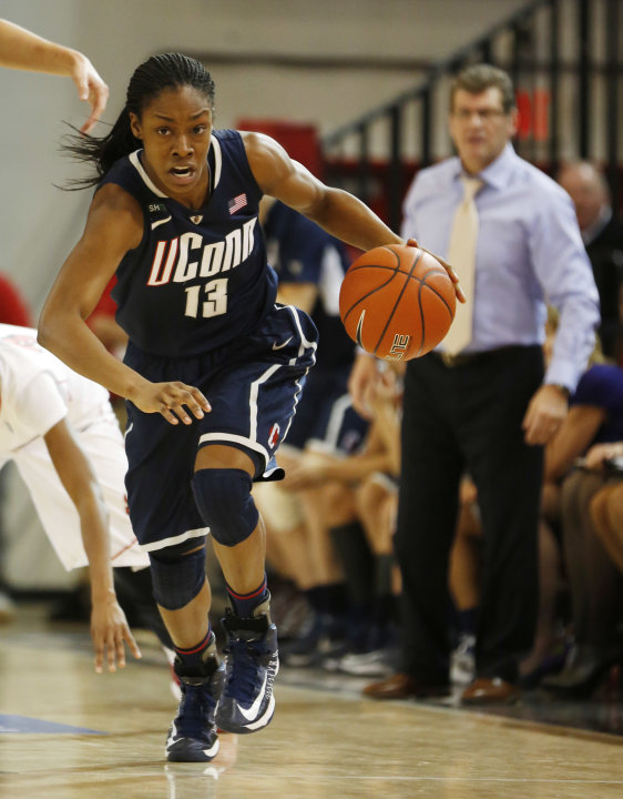 Connecticut guard Brianna Banks (13) breaks away during the first half of a NCAA college basketball game against St. John's, Saturday, Feb. 2, 2013, at St. John's University in New York. (AP Photo/Joh