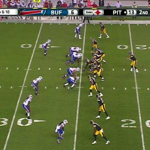 Pittsburgh Steelers quarterback Landry Jones intercepted by Buffalo Bills cornerback Nickell Robey