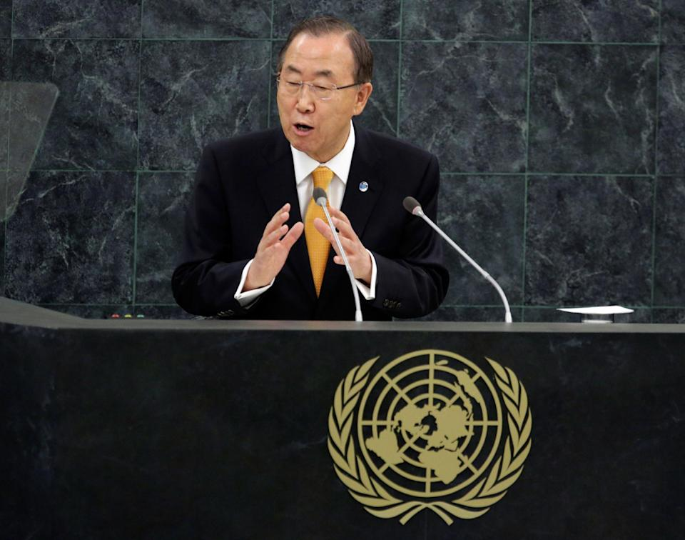 U.N. Secretary General Ban Ki-moon addresses the 68th session of the United Nations General Assembly, at U.N. headquarters in New York, Tuesday, Sept. 24, 2013. (AP Photo/Richard Drew)