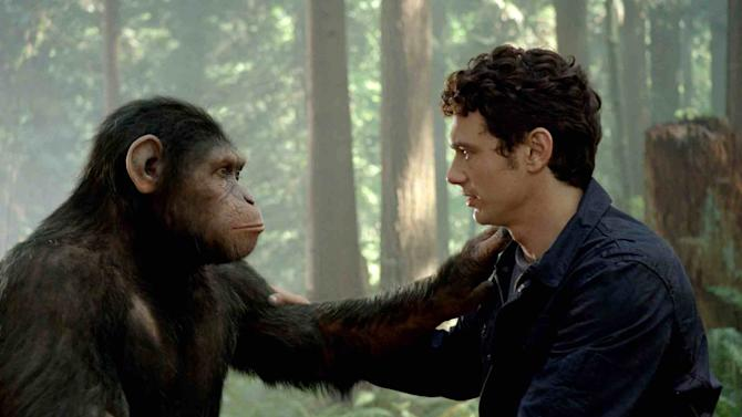 """In this image released by Twentieth Century Fox, Caesar the chimp, a CG animal portrayed by Andy Serkis, and James Franco are shown in a scene from """"Rise of the Planet of the Apes .""""  The prequel """"Rise of the Planet of the Apes,"""" opening in U.S. theaters Friday, features chimpanzees, gorillas and orangutans crafted through performance-capture. It is the same technology used for the giant gorilla in Peter Jackson's 2005 """"King Kong,"""" with the same actor who did Kong, Andy Serkis, playing the lead chimp in the prequel.(AP Photo/Twentieth Century Fox)"""
