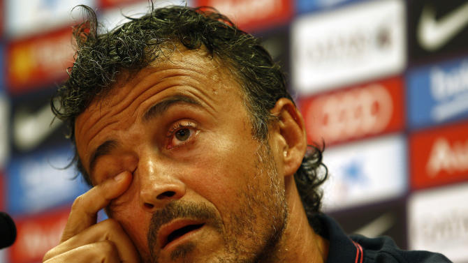 Barcelona's coach Luis Enrique Martinez gestures during a press conference at the Sports Center FC Barcelona Joan Gamper in Sant Joan Despi, near Barcelona, on August 17, 2014