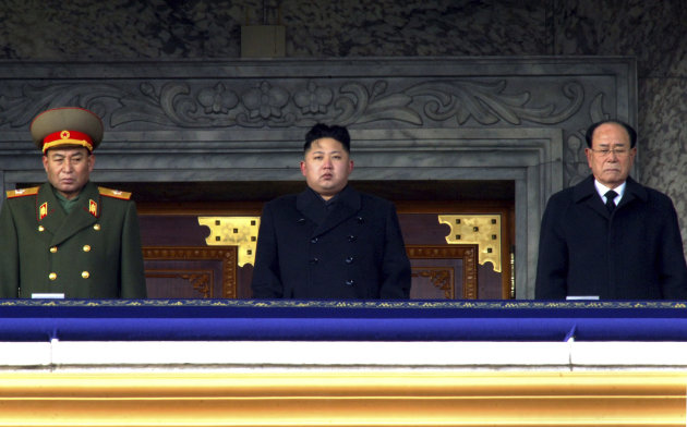 "FILE - In this Dec. 29, 2011 file photo, new North Korean leader Kim Jong Un, center, flanked by Kim Yong Nam, president of the Presidium of the Supreme People's Assembly and the ceremonial head of state, right, and Ri Yong Ho, vice marshal and general staff chief of the Korean People's Army, presides over a national memorial service for his late father Kim Jong Il at Kim Il Sung Square in Pyongyang, North Korea. The July 16, 2012 announcement that Ri, the country's most powerful military official, had been dismissed due to ""illness"", set off a predictable wildfire of speculation and rumors south of the border. (AP Photo/File)"