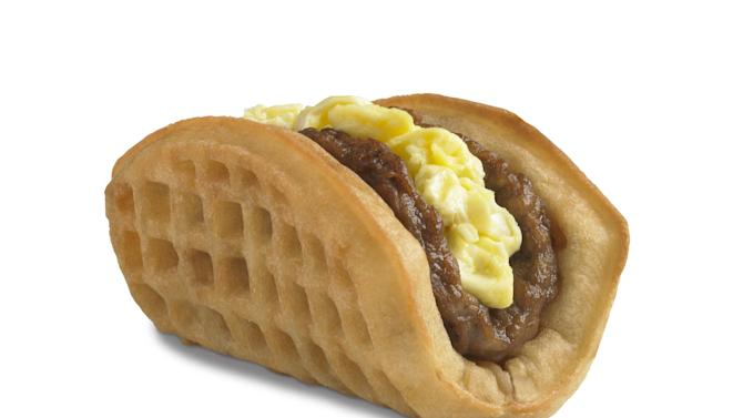 This undated product image provided by Taco Bell, shows the company's new waffle taco. The fast-food chain says the waffle taco, which includes scrambled eggs, sausage and a side of syrup, was the top seller during breakfast hours at the five Southern California restaurants where they were tested earlier this year. (AP Photo/Taco Bell)