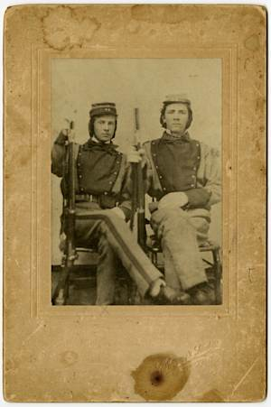 This photograph provided by the Library of Virginia William Henry Taylor, left, and Stephen Stewart, members of the 11th Virginia Infantry. The photograph  is among the 25,000 mementoes the Library of Virginia has scanned as archivists travel the state seeking documents, letters and diaries dating to the Civil War. Virginia is among a number of states attempting to collect Civil War documents that are in the possession of families, tucked away in trunks and attics. (AP Photo/Courtesy of the Library of Virginia)