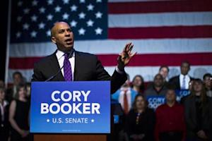 U.S. Senate candidate Cory Booker speaks during his campaign's election night event in Newark, New Jersey