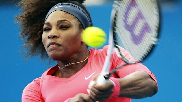 Serena Williams of the U.S. hits a return to compatriot Varvara Lepchenko (Reuters)