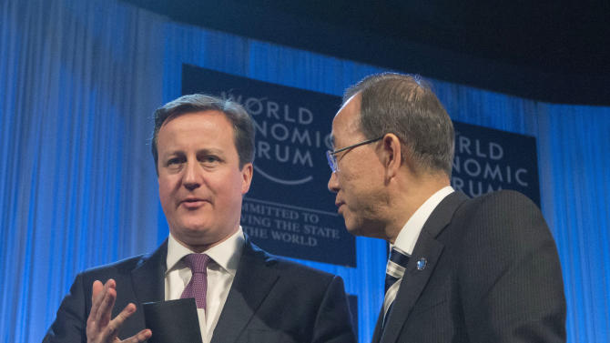 British Prime Minister, David Cameron, left, speaks with UN Secretary-General Ban Ki-moon,right, at the end of a session at the 43rd Annual Meeting of the World Economic Forum, WEF, while Queen Rania of Jordan sits next to him in Davos, Switzerland, Thursday, Jan. 24, 2013. (AP Photo/Michel Euler)