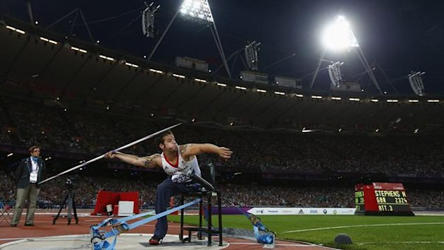 Britain&#39;s Nathan Stephens competes in the Men&#39;s Javelin F57/58 classification final during the London 2012 Paralympic Games at the Olympic Stadium (Reuters)
