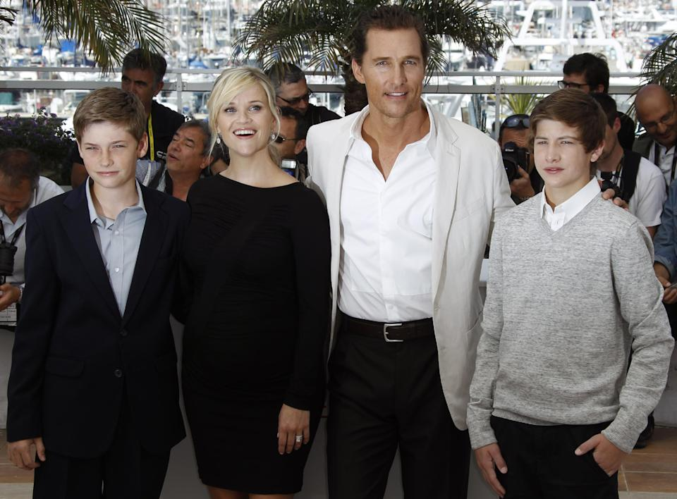 From left, actors Jacob Lofland, Reese Witherspoon, Matthew McConaughey and Tye Sheridan pose during a photo call for Mud at the 65th international film festival, in Cannes, southern France, Saturday, May 26, 2012. (AP Photo/Joel Ryan)