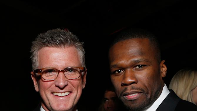 Chairman of Entertainment, Fox Broadcasting Company Kevin Reilly, left, and Rapper 50 Cent attend the Fox Golden Globes Party on Sunday, January 13, 2013, in Beverly Hills, Calif. (Photo by Todd Williamson/Invision for Fox Searchlight/AP Images)