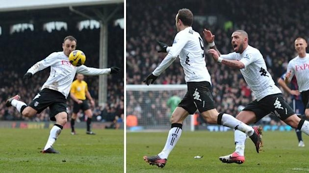 Dimitar Berbatov scores a volley for Fulham against Stoke (AFP)
