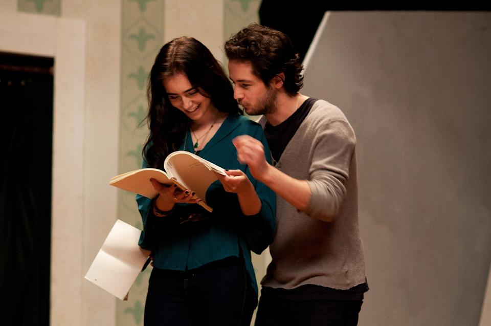 "This undated publicity photo released by courtesy of Cinedigm shows Lily Collins as Halle Anderson and Michael Angarano as Jason Sherwood in the film, ""The English Teacher,"" directed by Craig Zisk. (AP Photo/Cinedigm, Nicole Rivelli)"