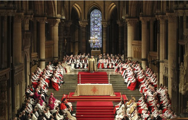 The new Archbishop of Canterbury Justin Welby speaks to the congregation after being enthroned during a ceremony at Canterbury Cathedral, in Canterbury, southern England