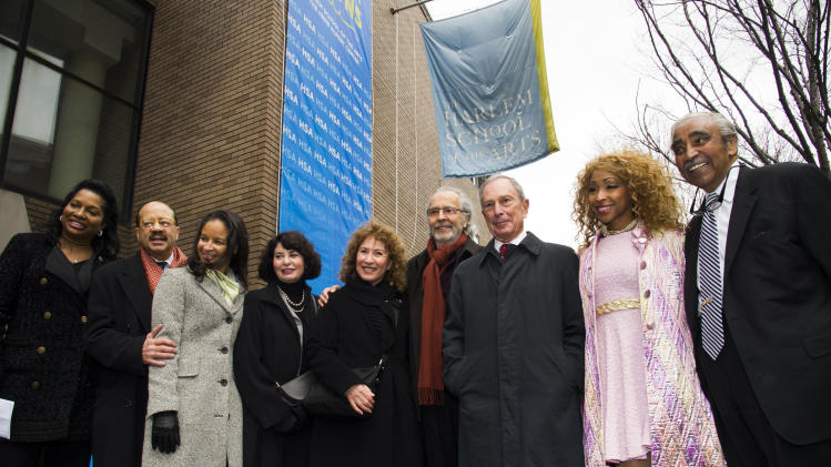 "IMAGE DISTRIBUTED FOR HARLEM SCHOOL OF THE ARTS - From left to right, Janice Savin, Charles J. Hamilton, Yvette L. Campbell, Rona Sebastian, Lani Hall, Herb Albert, Mayor Michael R. Bloomberg, N'Kenge and Charles B. Rangel attend the ""Harlem School of the Arts - The Herb Alpert Center"" building naming ceremony, on Monday, March 11, 2013 in New York. (Photo by Charles Sykes/Invision for Harlem School of the Arts/AP Images)"