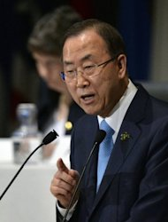 Secretary-General of the UN, Ban Ki-moon, delivers a speech during the opening session of the 5th Tokyo International Conference on African Development (TICAD V), in Yokohama, near Tokyo, on June 1, 2013