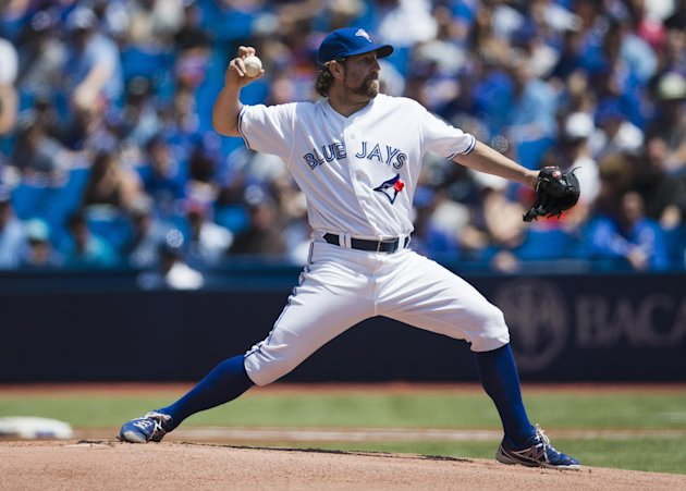 Jays' Dickey pitches to the Rays during the first inning of their MLB American League baseball game in Toronto