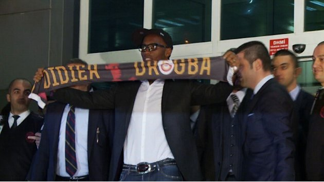 Didier Drogba arrives at Istanbul airport