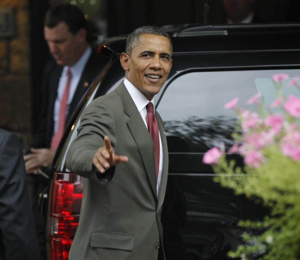 President Barack Obama leaves a private residence following his campaign fundraiser in McLean, Va., Friday, July, 27, 2012. (AP Photo/Pablo Martinez Monsivais)