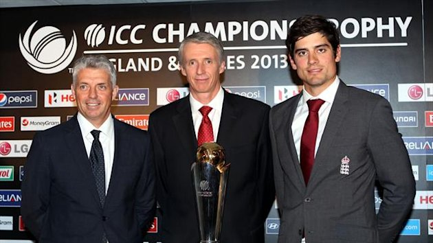Steve Elworthy, centre, with the Champions Trophy (PA Sport)