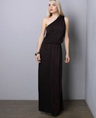 one shoulder black maxi dress