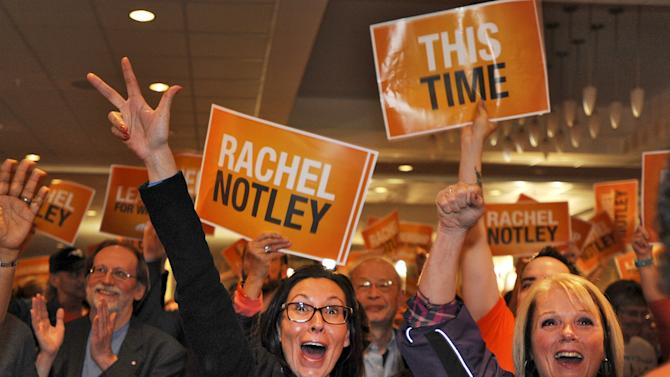 NDP supporters cheer as election results come in during festivities at the election headquarters in Edmonton