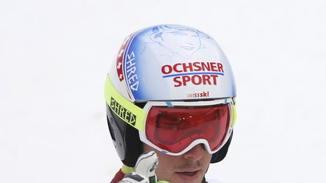 Janka of Switzerland reacts in finish area during men's Alpine Skiing World Cup giant slalom in Garmisch-Partenkirchen