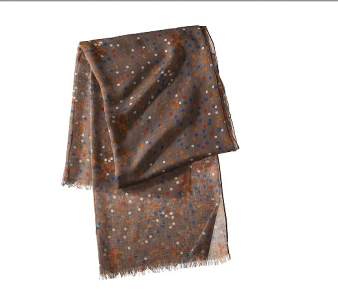 Merona multi-confetti dot scarf in brown mushroom, $14.99 at Target.com