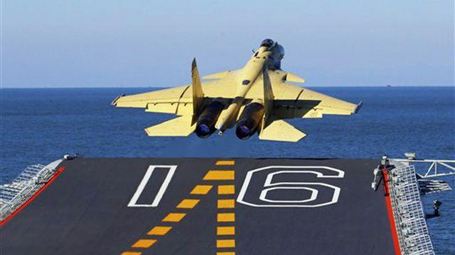 China land fighter jet on aircraft carrier