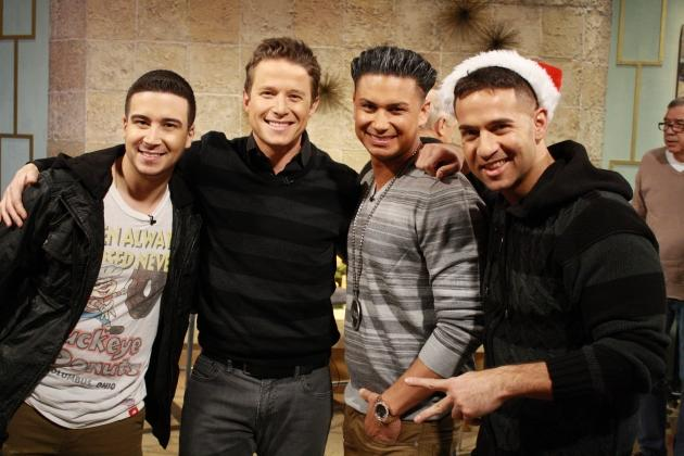 Billy Bush is joined by 'Jersey Shore' stars Vinny Guadagnino, Pauly D and Mike 'The Situation' Sorrentino on Access Hollywood Live on December 19, 2012 -- Access Hollywood