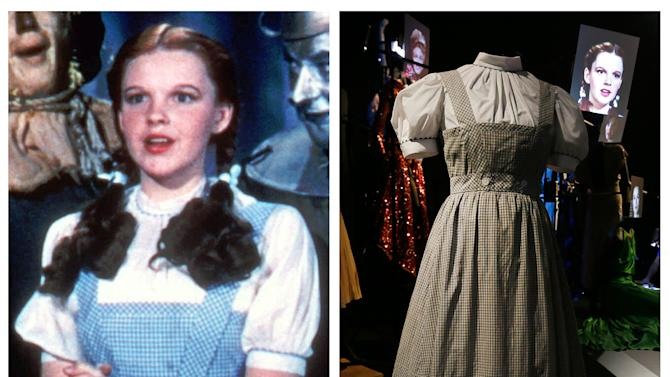 """This photo combo shows, at left, actress Judy Garland as Dorothy in a scene from """"The Wizard of Oz,"""" and at right, is an Oct. 16, 2012 file photo showing the dress Garland wore in the movie, on display in London. On Sunday, Nov. 11, 2012, auction house Julien's Auctions said the gingham dress fetched the highest price of any item during a two-day auction of Hollywood memorabilia that attracted bids from around the world, selling for $480,000. (AP Photo/Warner Bros., Alastair Grant)"""