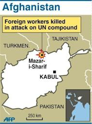 A map of Afghanistan locating Mazar-i-Sharif, where the UN compound was attacked. Eight foreign United Nations workers were killed Friday in Afghanistan by protesters angered by a Koran burning in the United States, in the deadliest attack on the UN there since the 2001 invasion