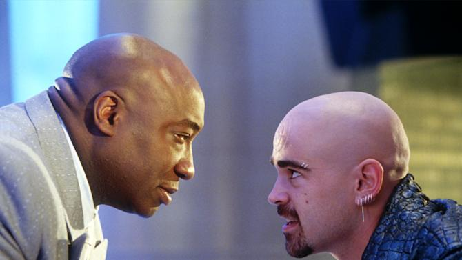 "In this undated movie still provided by Twentieth Century Fox, the crime lord Kingpin, played by Michael Clarke Duncan, left, hires Bullseye, played by Colin Farrell, in a scene from the movie ""Daredevil"", based on a popular comic book published by Marvel. In Google's 12th annual roundup of global trending searches, ""Amanda Todd"" was ranked ninth. (AP Photo/20th Century Fox, Zade Rosenthal)"