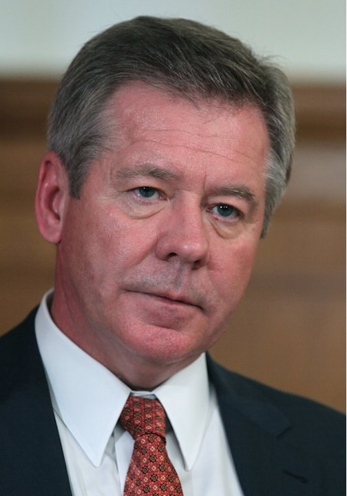 Russian Deputy Foreign Minister Gennady Gatilov speaks during an interview to the Associated Press in Moscow, Russia, Thursday, Aug. 23, 2012.  Gatilov said Russia is working closely with the Syrian g