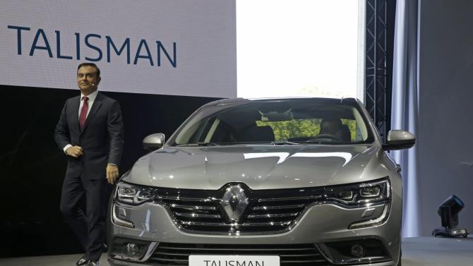 Carlos Ghosn, CEO of the Renault-Nissan Alliance, arrives to deliver a speech during the unveiling of the new Renault's new D-segment saloon Talisman during a press event at the Chateau de Chantilly near Paris