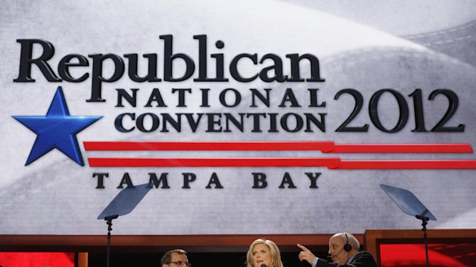 Ann Romney, wife of U.S. Republican presidential candidate Mitt Romney, looks over the main stage during a sound check at the Republican National Convention in Tampa, Fla., on Tuesday, Aug. 28, 2012. (AP Photo/Charles Dharapak)