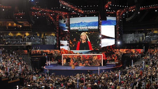 North Carolina Governor Bev Perdue speaks during the Democratic National Convention in Charlotte, N.C., on Tuesday, Sept. 4, 2012. (AP Photo/Charles Dharapak)