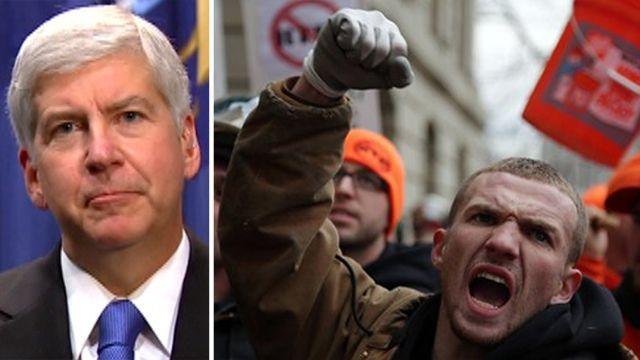 Right-to-work law sparks union uproar in Michigan