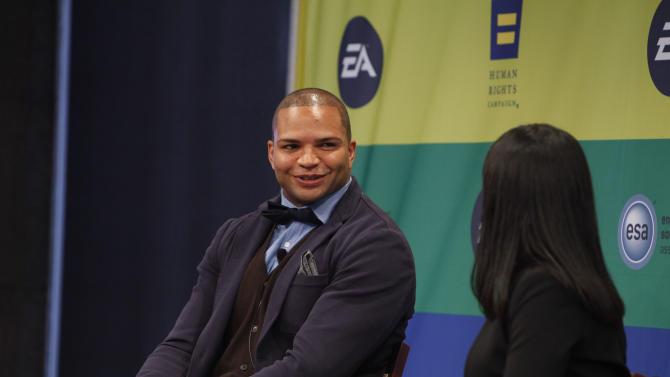 NFL linebacker and Super Bowl Champion Brendon Ayanbadejo of the Baltimore Ravens gets interviewed by Maya Harris from the Ford Foundation at Electronic Arts'  LGBT Full Spectrum Event on Thursday, March, 7, 2013 in New York City, New York. (Photo by Amy Sussman/Invision for EA/AP Images)