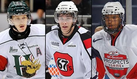 Halifax Mooseheads, Nathan MacKinnon, Ottawa 67's Sean Monahan and Portland Winterhawks' Seth Jones