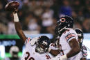 Chicago Bears defensive back Ahmad Dixon (36) celebrates his fumble recovery against the New York Jets in the first quarter of an NFL football game, Monday, Sept. 22, 2014, in East Rutherford, N.J. (AP Photo/Julio Cortez)