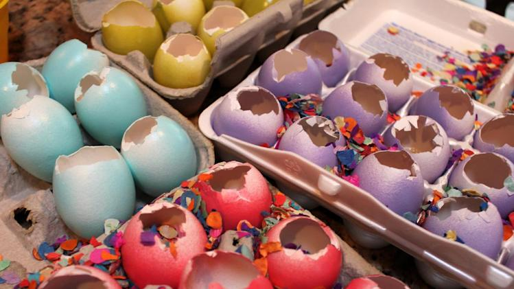 "In this March 2012 image released by Cynthia Leonor Garza, a batch of cascarones are shown at the home of Cynthia Leonor Garza in Washington, D.C. Cascarones are hollowed-out eggs that are dyed, decorated and filled with confetti, then covered with a colorful piece of tissue paper. At Easter time, families make or buy cascarones, which is Spanish for ""eggshells,"" for crushing over each other's heads. The tradition came to the United States from Mexico, where cascarones were used during fiestas and other celebrations. In the United States, it has become primarily an Easter tradition. (AP Photo/Cynthia Leonor Garza)"