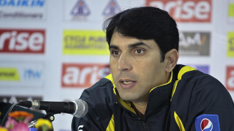 Pakistan cricket team captain Misbah-ul-Haq addresses a press conference ahead of the Asia Cup tournament in Dhaka, Bangladesh, Sunday, Feb. 23, 2014. Pakistan plays Sri Lanka in the opening match of the five-nation one day cricket event that begins Tuesday.(AP Photo/A.M. Ahad)