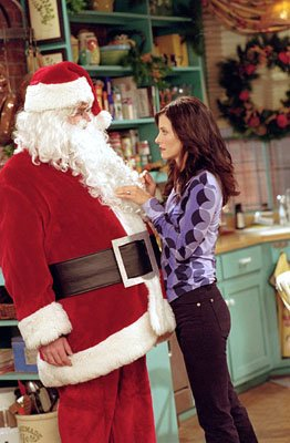 "Matthew Perry and Courteney Cox in ""The One With The Holiday Armadillo"" in NBC's Friends"