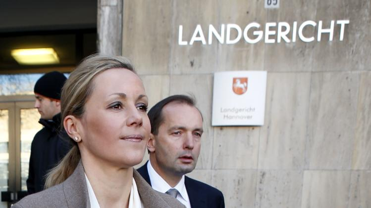 Bettina Wulff, wife of former German President Christian Wulff leaves the regional court in Hanover