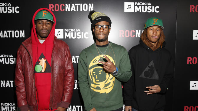 Josh Harris, Casey Veggies and Anwar Carrots arrive at Roc Nation's Pre-Grammy Brunch at the Soho House on Saturday, Feb. 9, 2013 in Los Angeles. (Photo by Todd Williamson/Invision/AP)